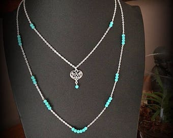 Double silver chain, heart pendant and turquoise beads necklace