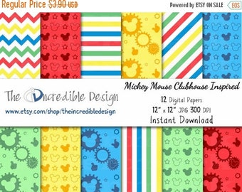 50% OFF SALE Mickey Mouse Clubhouse Inspired digital paper pack for scrapbooking, Making Cards, Tags and Invitations, Instant Download