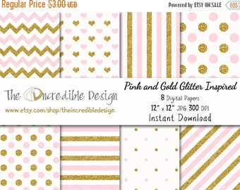 50% OFF SALE Pink and Gold Glitter Inspired digital paper pack for scrapbooking, Making Cards, Tags and Invitations, Instant Download