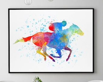 Horse Racing Decor, Horse Racing Art, Horse Racing Gift, Horse Poster, Races Wall Art, Horse Racing Painting, Country House Decor (N024)