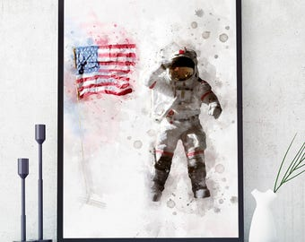 Astronaut And US Flag Poster, NASA Print, Kids Room Astronaut Wall Art, Nasa Decor, Watercolour Space Art, Nursery Decorations (N313)