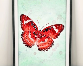 Butterfly Print, Red Butterfly,  Butterfly Painting, Watercolour Butterfly, Butterfly Poster, Home Wall Art Decor, Bedroom Decor (N409)