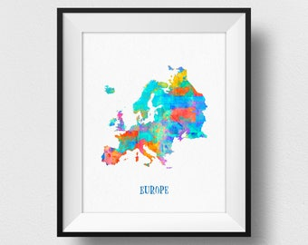 Europe Map Print, European Map, Map of Europe Wall Art, Watercolour Europe Map Print, Colourful Europe Map Poster, Nursery Decor (718)