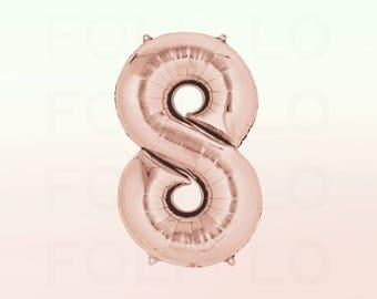 "40"" ROSE GOLD Number Balloon | 40 Inch Rose Gold Balloon | Huge Number Balloon | Giant 8 Balloon | Number 8 Balloon | Jumbo Eight Balloon"