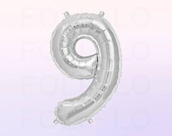 Metallic Silver Number 9 Balloon | Silver 9 Birthday Balloon | Silver Number 9 Balloon | Jumbo Number 9 Balloon