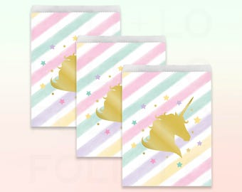 UNICORN Treat Bags | Pastel Rainbow Party Favor Bags | Unicorn Party Decor | Unicorn Party Theme | Size: 6.5 x 8.75 inches | Set of 10
