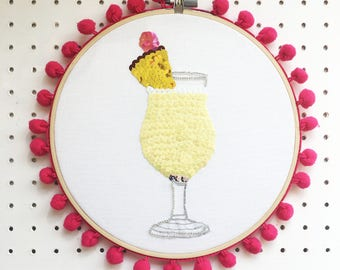 Pina Colada Cocktail Art, Embellished Home Decor, Wall Art, Cocktail Gift, Tropical, Alcohol Gift,  Cocktail Lover,Sequin Art, Birthday Gift