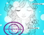 SALE Digital Stamp, Digi Stamp, digistamp, Summer Bride by Conie Fong, Coloring Page, girl, flower, orchid, birthday, braids