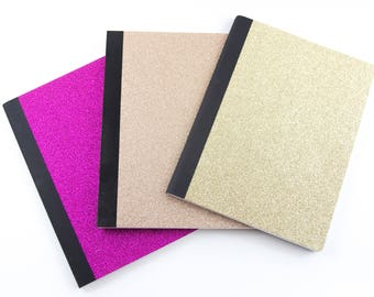 Glitter Composition Notebooks in Gold, Magenta Pink, or Rose Gold