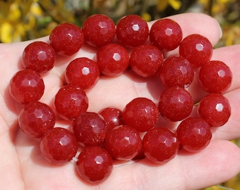 2 RUBY RED 12 MM ROUND FACETED BEADS. AA * 7