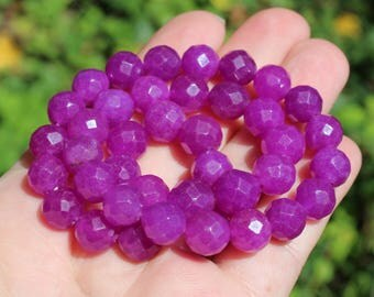 2 ROUND ALEXANDRITE BEADS HAS 9-10 MM PURPLE FACETED. *.