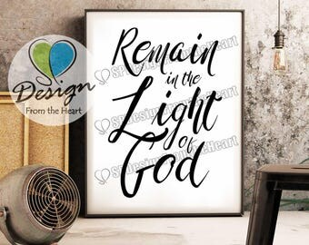 Digital Download, Remain in the Light of God, Art and Collectibles, Inspiration, Encouragement, Prayer