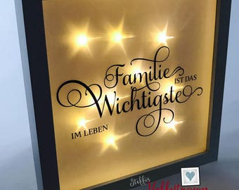 Bright-line frame, 3D frame, catchment, family, gift new House, photo frame illuminated, picture frame with light