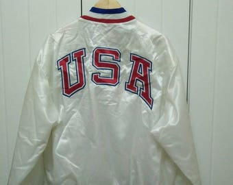 Rare Vintage OLYMPIC USA Embroidered Jacket Button Down Made in USA