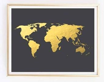Gold world map etsy gold world map gold foil world map world map wall art gold map gumiabroncs Gallery