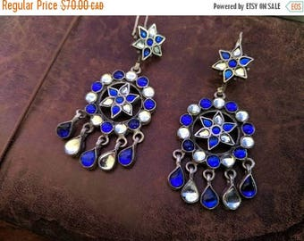 ON SALE Vintage Sterling Silver and Glass Earrings