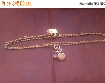 ON SALE Vintage Sterling Silver Necklace with Silver and Glass Bead Pendant