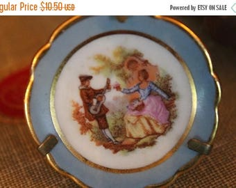 Christmas in July Sale Miniature Limoges Souvenir Plate with Stand - Blue Rim with Courting Couple Musicians