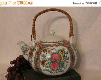 SALE Vintage Chinese Famille Rose Medallion Porcelain Teapot with Wicker Handle - SIGNED