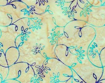 Batiks by Batik Textile - Batik - Celestial Blossoms  - 3738 - Miandering Floral - Teal and Purple