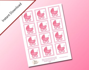 Pink Baby Shower Square Gift Tags, Baby Shower Party Favors, Baby Carriage Design, Digital Download, Baby Shower, It's a Girl Baby Shower