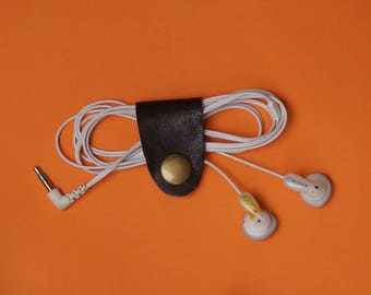Earphone Holder, Leather Cord Organiser, Technology Gadget