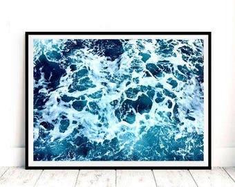 Ocean Print, Blue Ocean, Printable art, Ocean Photography, Ocean Wall Art, Ocean Art, Sea, Ocean Poster, Ocean Photo, Ocean Wave, Sea Poster