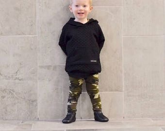Camo Leggings, Camouflage Leggings,  Black and green leggings