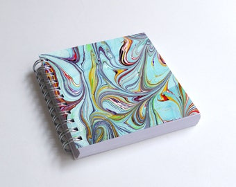 "Notebook 4x4"" decorated with motifs of marbled papers - 25"