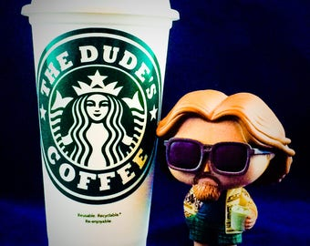 "The Big Lebowski inspired ""The Dude's Coffee"" Starbucks Travel Cup"