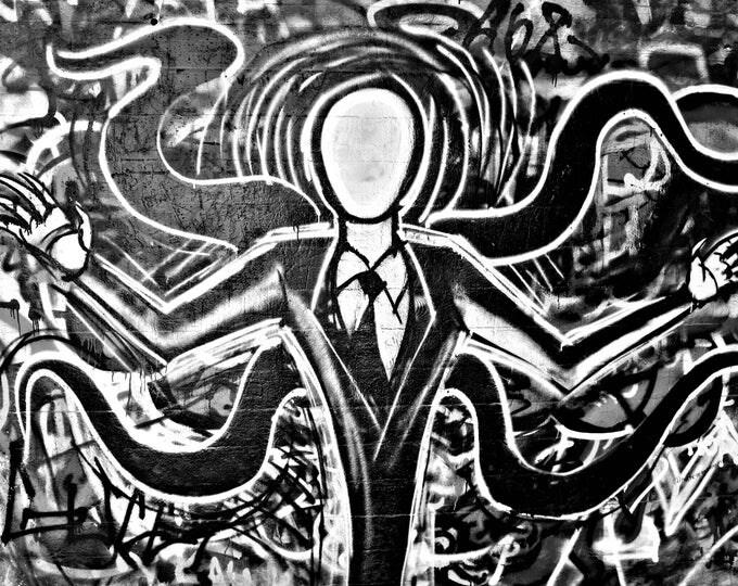 Graffiti Slender Man B&W