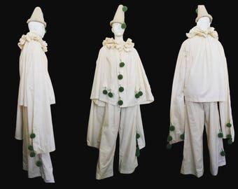 Rare Antique Mens Edwardian 3 Piece Clown Pierrot Cotton Costume Trousers Top & Wool Hat