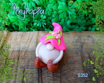 Miniature pink flower hat gnome! Handmade and one of a kind. Fairy garden accessory!