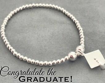 Sterling Silver Mortarboard Graduation Charm Bracelet