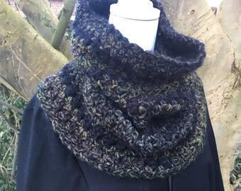 Warm dark green & black Cowl / neck warmer