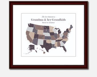 Grandma And Grandson Unique Long Distance Gift 2 Map Art Two Map Print Personalized State Country Distance Present Birthday