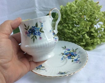 ON SALE Vintage numbered Royal Windsor teacup. Forget me not china teacup. Made in England
