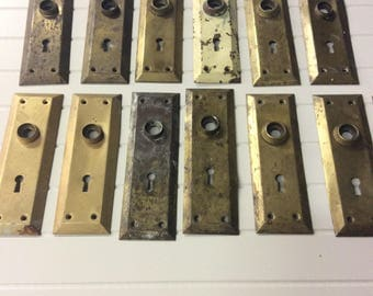Vintage metal door handle plates