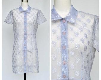 button up GRUNGE dress /babydoll dress / medium