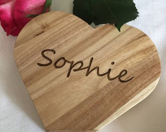 Personalised Wooden Heart Box-  Girl Birthday Gift - Party Present -  Chocolate Box - Jewellery Box - Trinket Box - Flower Girl Gift