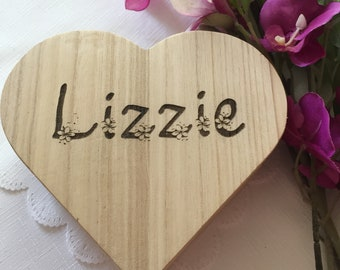 Personalised Wooden Heart Box - Girl Birthday Gift - Party Present - Chocolate Box - Jewellery Box - FLower Girl Gift - Trinket Box