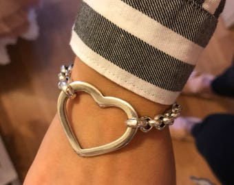 Silver bath bracelet Heart Smooth