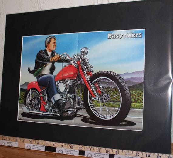 "David Mann ""Wine Country"" 16'' x 20'' Matted Biker Art #9708ezrxmb"