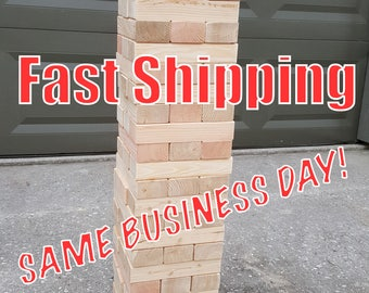 "Giant Jenga inspired - Texan Towers - w/ optional carrying tote - 54 pcs - FAST SHIPPING! 7.5"" sanded and planed pieces for smooth play!"