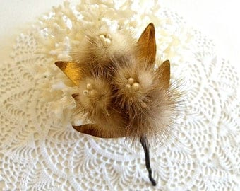 vintage mink brooch fur brooch gold leaf mink brooch flower fur brooch jewelry