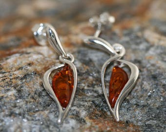 Baltic amber earrings. Sterling silver and cognac amber earrings.