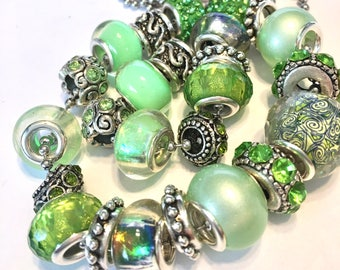 Pandora style Bead set 25 pieces large hole fits pandora spring green necklace or just the beads