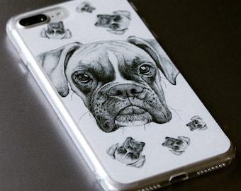Boxer Dog iPhone Case: Handmade Stippling Art