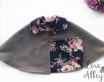 Girls floral design Winter Cape/Poncho