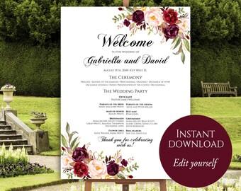 Wedding Program Poster, Large Wedding Program, Wedding Poster, Ceremony Program, Wedding Program Template, Marsala, Editable Program Board